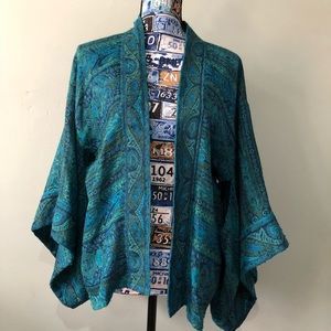 Chico's S/M Green & Blue  Wool Blend Cape/Poncho